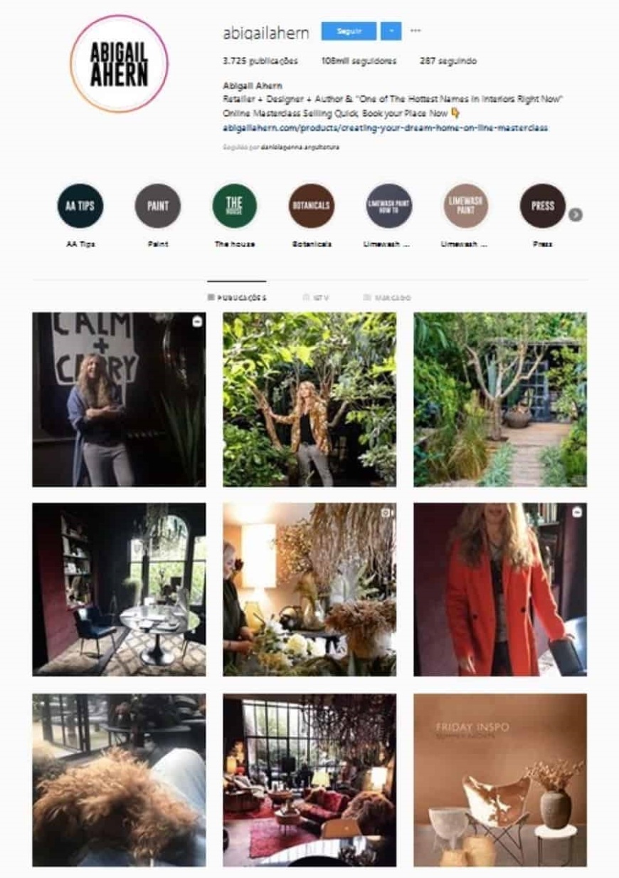 instagram de design de interiores