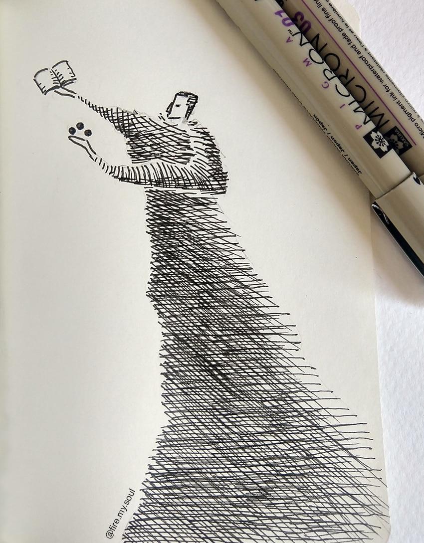 hachura no desenho - linhas cruzadas