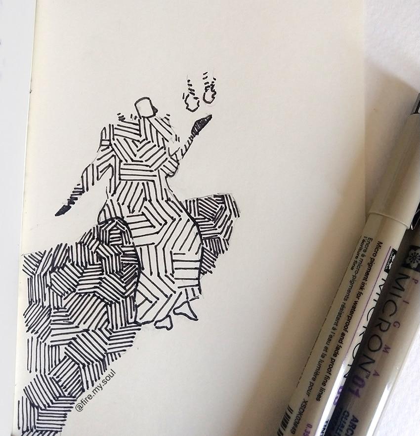 hachura no desenho - sentidos diferentes