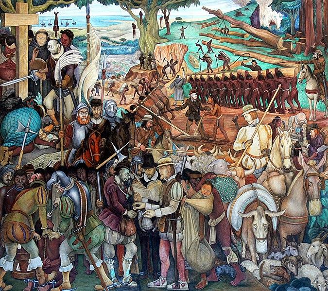 Mural de exploração do México pelos conquistadores espanhóis - Diego Rivera